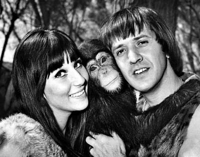 Bono Photograph - Good Times, Cher, Sonny Bono, On Set by Everett