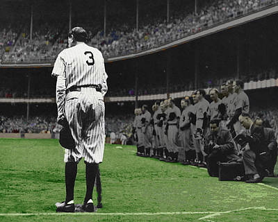 Yankee Stadium Painting - Goodbye Babe Ruth Farewell Horizontal by Tony Rubino