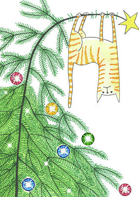 Orange Drawing - Goodbye, Christmas Tree  by Andrew Hitchen