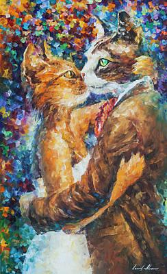 Goodbye My Miau  Art Print by Leonid Afremov