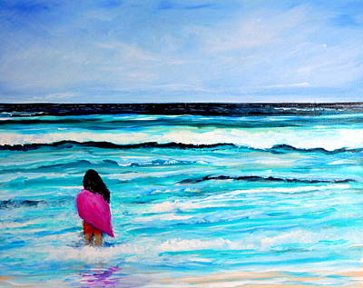 Painting - Goodbye Ocean Girl On Beach by Katy Hawk