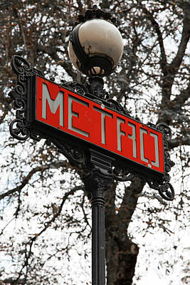 Photograph - Goodbye Paris 2013 - The Metro Signs Series - 3 by Hany J