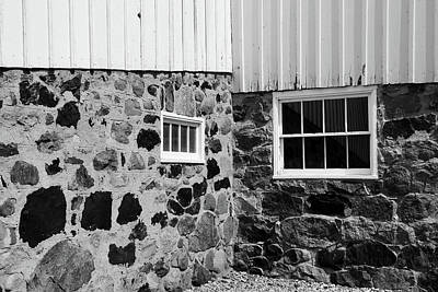 Photograph - Goodells Barn Parts Bw by Mary Bedy