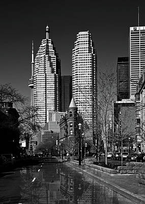 Photograph - Gooderham Flatiron Building And Toronto Downtown Reflection by Brian Carson