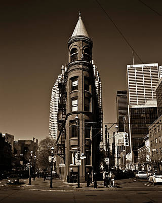 Photograph - Gooderham Flatiron Building Toronto Canada Sepia Version by Brian Carson