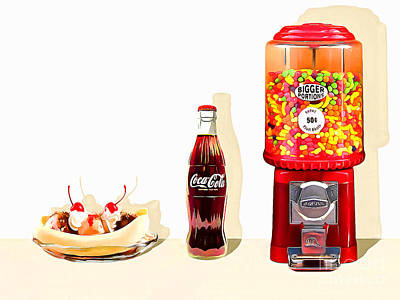 Photograph - Goodness Aka Ice Cream Sundae Coke Coca Cola Candy Machine 20160221 by Wingsdomain Art and Photography