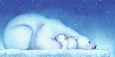 Polar Wall Art - Painting - Arctic Bears, Goodnight Nanook by Tracy Herrmann