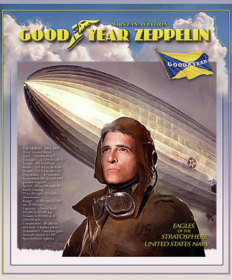 Digital Art - Goodyear - Zeppelins - Akron by James Vaughan