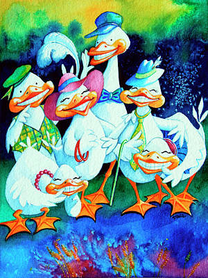 Illustration For Childrens Book Painting - Goofy Gaggle Of Grinning Geese by Hanne Lore Koehler