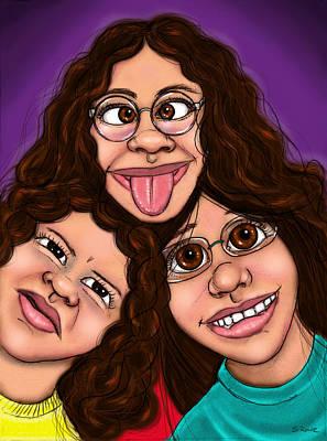 Drawing - Goofy Girls by Shawna Rowe