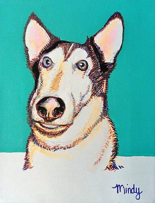 Huskie Wall Art - Painting - Goofy Huskie by Melinda Page