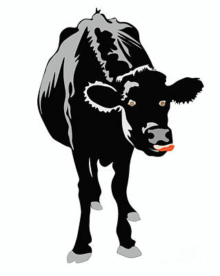 Digital Art - Goofy Looking Black Cow Licks Her Nose by Susan Vineyard