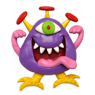 Polymer Clay Mixed Media - Goofy Purple Monster by Amy Vangsgard