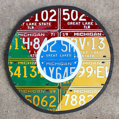Google Chrome Logo Recycled License Plate Art On Cement Wall Print by Design Turnpike