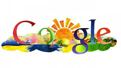 Graphic Digital Art - Google by Super Lovely