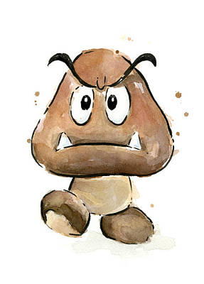 Character Portraits Painting - Goomba Watercolor by Olga Shvartsur