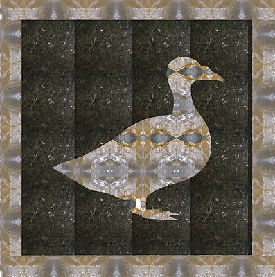 Mixed Media - Goose Bird Crystal Stone Healing Tile With Border by Navin Joshi