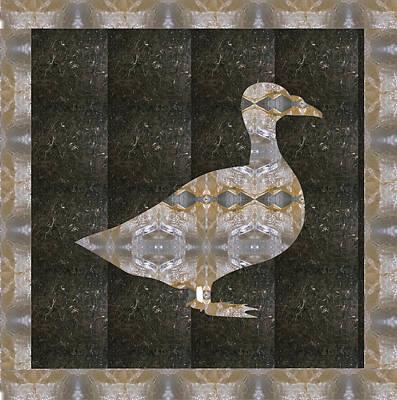 Mixed Media - Goose Bird Crystal Stone Healing Tile With Border by Navin Joshi