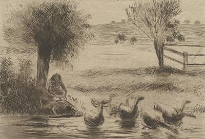 Goose Girl Art Print by Camille Pissarro