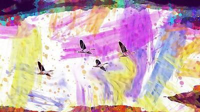 Digital Art - Goose Grey Flight Flying Bird  by PixBreak Art