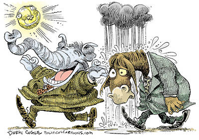 Drawing - Gop Glee And Dem Doom by Daryl Cagle