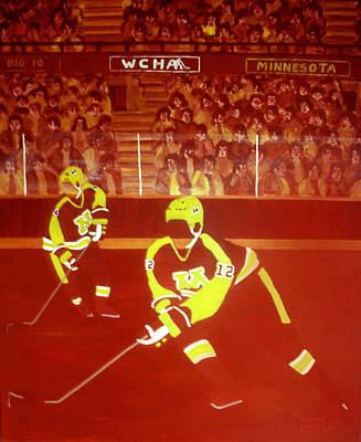 Ice Hockey Painting - Gophers by Ken Yackel