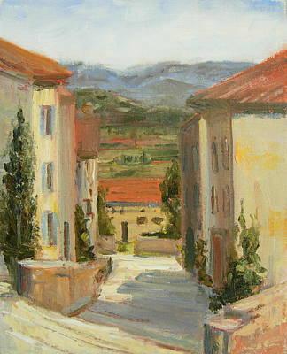Impressionistic Landscape Painting - Gordes - France by Elaine Monnig