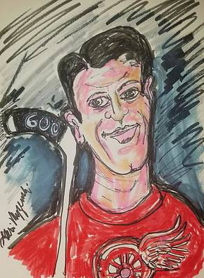 Mr. Hockey Painting - Gordie Howe 600 Goals by Geraldine Myszenski