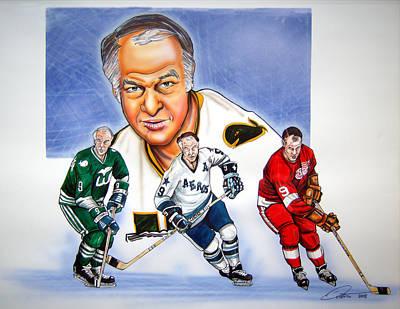 Hockey Drawing - Gordie Howe by Dave Olsen