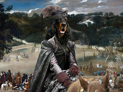 Gordon Setter Art Canvas Print - Philip Iv Hunting Wild Boar  Art Print