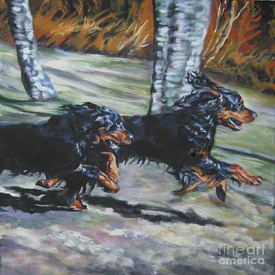 Gordon Setter Puppy Painting - gordon Setter Autumn run by Lee Ann Shepard