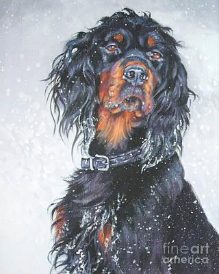 Gordon Setter Puppy Painting - Gordon Setter In Snow by Lee Ann Shepard