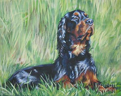 Gordon Setter Puppy Painting - Gordon Setter In The Grass by Lee Ann Shepard