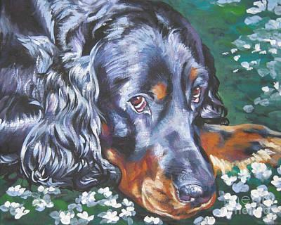 Gordon Setter Puppy Painting - Gordon Setter In Wildflowers by Lee Ann Shepard