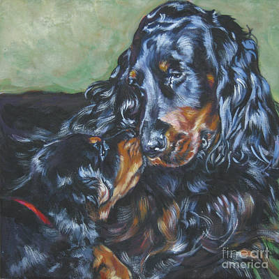 Gordon Setter Puppy Painting - Gordon Setter Mom And Pup by Lee Ann Shepard