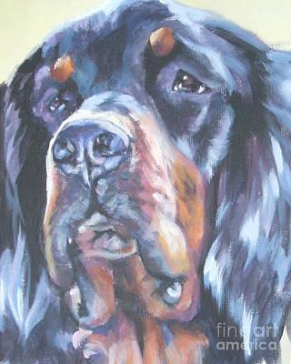 Gordon Setter Puppy Painting - Gordon Setter Portrait by Lee Ann Shepard
