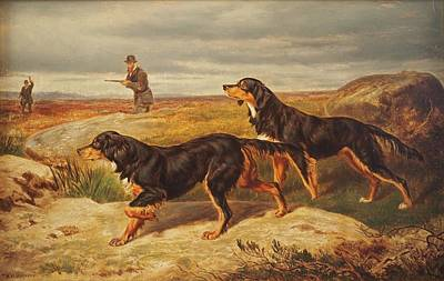 Gordon Setter Painting - Gordon Setters Upon The Moors by MotionAge Designs