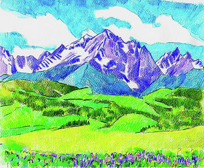 Drawing - Gore Range Sketch by Dan Miller