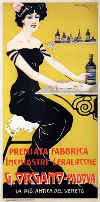 Royalty-Free and Rights-Managed Images - G.Organo - Premiata Fabrica - Padova, Italy - Vintage Ink Advertising Poster by Studio Grafiikka