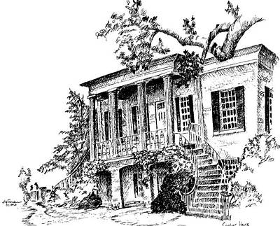 University Campus Buildings Drawings Drawing - Gorgas House, University Of Alabama by Jim Stovall