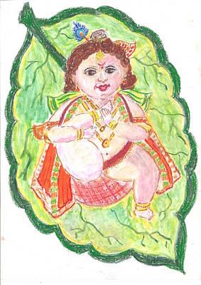 Ganapathi Painting - Gorgeous Leaf Krishna by Chitra Pandalai
