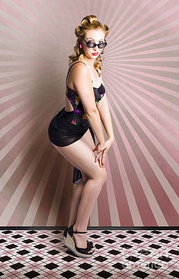 Gorgeous Pinup Swimwear Woman With Elegant Look Print by Jorgo Photography - Wall Art Gallery