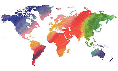 Painting - Gorgeous Rainbow World Map by Irina Sztukowski