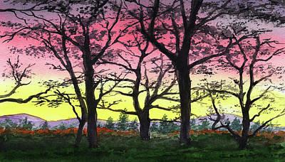 Owls - Gorgeous Sunrise Watercolor Landscape  by Irina Sztukowski