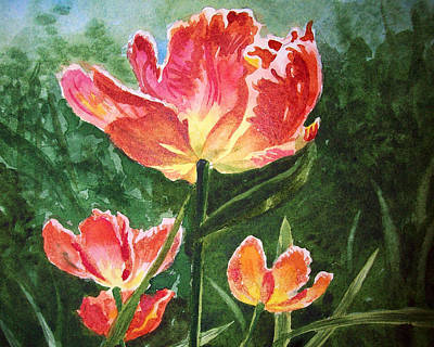 Tulips Watercolor Wall Art - Painting - Gorgeous Tulip Garden By Irina Sztukowski by Irina Sztukowski