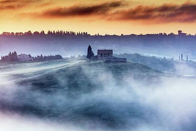 Photograph - Gorgeous Tuscany Landcape At Sunrise by Evgeni Dinev