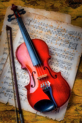 Fiddle Wall Art - Photograph - Gorgeous Violin On Sheet Music by Garry Gay