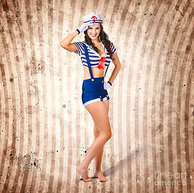 Gorgeous Young Retro Pinup Sailor Girl Art Print