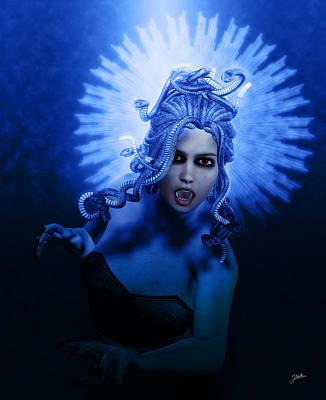 Medusa Digital Art - Gorgon Blue by Joaquin Abella