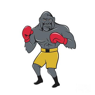 Gorilla Boxer Boxing Stance Cartoon Art Print